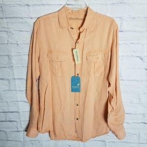 Caribbean Long-Sleeve Linen Shirt Front Pockets